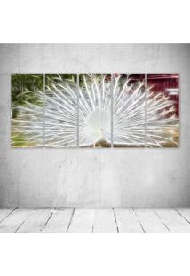Quadro Decorativo - Peacock Neon (2) - Composto De 5 Quadros