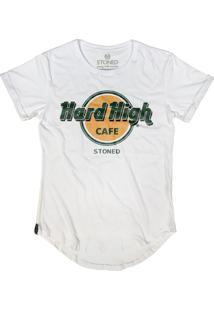 Camiseta Stoned Longline Hard High Cafe Branco