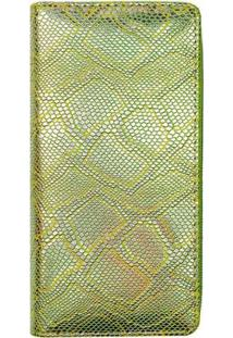 Carteira Glamour Cobra Feminina - Feminino-Verde