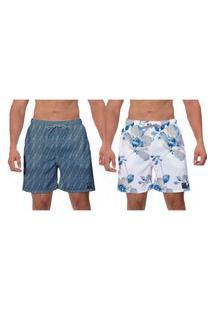 Kit 2 Shorts Flores Azuis Estampada Branco Azul Petróleo Moda Praia Masculino Surf Banho Poliéster Elastano W2