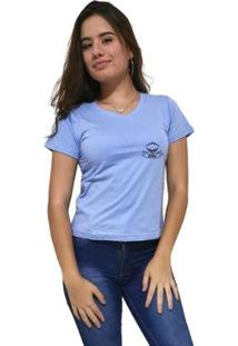 Camiseta Gola V Cellos Royal Band Premium Feminina - Feminino-Azul Claro
