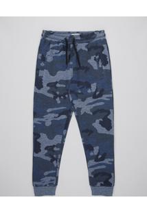 Calça Infantil Em Moletom Estampada Camuflada Com Bolsos Azul Marinho