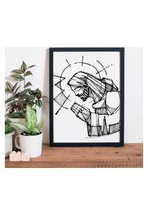 Quadro Decorativo Com Moldura Jesus Preto - 20X30Cm