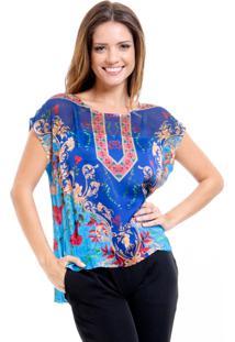 Blusa Estampada 101 Resort Wear Tunica Lenço Azul