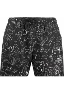 Marcelo Burlon County Of Milan Short De Nataçã Com Estampa - Preto