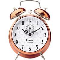 79ad5b95b35 Relógio Despertador Analógico Decorativo Mecânico Iluminação Noturna  Fluorescente Herweg Cobre