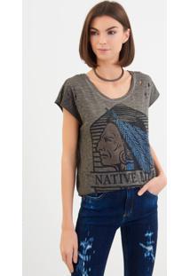 Camiseta John John Native Malha Cinza Feminina (Cinza Escuro, M)
