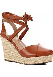 Sandália Anabela Shoestock Corda Tiras Feminina - Feminino-Caramelo