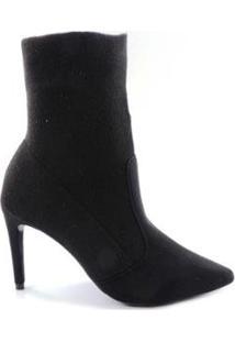 Bota Naturali Meia Sock Boot Nobuck Feminina - Feminino-Preto