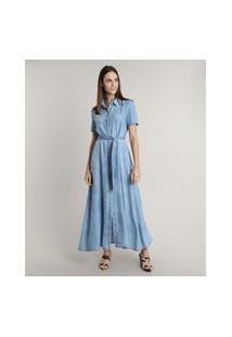 Vestido Chemise Jeans Feminino Mindset Longo Com Faixa Para Amarrar Manga Curta Azul Médio