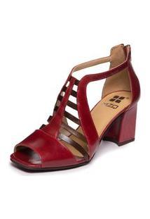 Sandália Vermelha Em Couro - Amora / Chocolate 5972 Mzq
