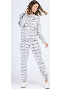 Pijama Feminino De Fleece Estampado De Ovelhas Manga Longa Off White