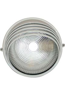 Arandela Tartaruga Circular 18Cm Alumínio E-27 1 Lâmpada Max 60W Meia Cana Branca