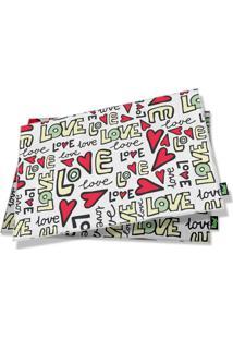 Jogo Americano Textura Love (2 Peças) Geek10 Branco