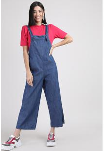 Macacão Jeans Feminino Pantacourt Com Bolso Azul Médio