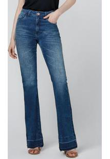 Calça Azul Claro Jeans Flare Barra Desmanchada