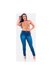 Calça Jeans Super Elastano Manabana Skinny Cós Médio Azul