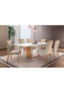 Conjunto De Mesa De Jantar Luna Com 6 Cadeiras Ciana Veludo Off White E Bege
