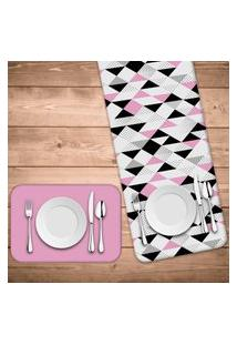 Jogo Americano Com Caminho De Mesa Wevans Triângulos Rosa Kit Com 4 Pçs + 1 Trilho