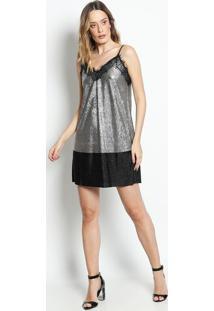 Vestido Texturizado Com Renda - Preto & Prateado- Ahaha