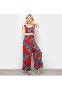 Macacão Pantalona Cantão Floral Decote Costas Feminino - Feminino-Vermelho