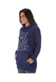Blusão De Moletom Com Capuz Oxer Duo Color Chill - Feminino - Azul Escuro