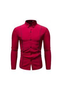 Camisa Masculina Com Listra - Vinho