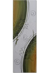 Quadro Artesanal Com Textura Abstrato Verde 20X60 Uniart