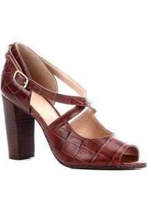 Sandália Couro Shoestock Croco Salto Bloco Alto Feminina - Feminino-Tabaco
