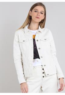 Jaqueta De Sarja Feminina Com Bolsos Off White