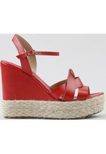 Sandália Plataforma Feminina Com Corda Vermelha