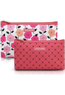 Kit De Necessaire De 2 Peças Jacki Design Pink Lover Coral