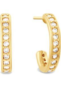 Argola Ouro Amarelo E Diamantes 15 Mm