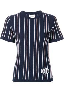 Barrie Blusa De Cashmere Listrada - Azul