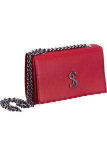 Bolsa Clutch Pequena De Lado Selten Vermelha