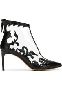 Francesco Russo Ankle Boot Com Bordado - Preto