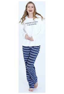 Pijama Feminino Bordado Manga Longa Marisa