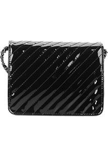 Bolsa Santa Lolla Mini Bag Verniz Feminina - Feminino-Preto+Prata