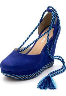 Sandália Anabela Salto Alto Flor Da Pele Azul