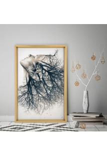 Quadro Love Decor Com Moldura Chanfrada Woman Element Madeira Clara - Médio