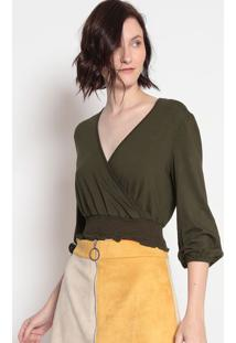 Blusa Cropped Com Transpasse- Verde Escuro- Sommersommer