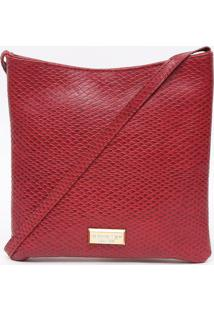 Bolsa Transversal Em Couro Texturizada Com Tag- Vermelhadi Marlys