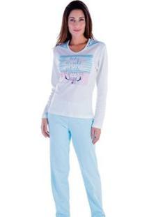 Pijama Feminino Victory Inverno Frio Longo Canelado - Feminino-Azul Claro