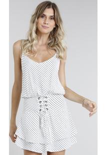 127725e5a CEA. Vestido Feminino Curto Listrado Com Lace Up Off White