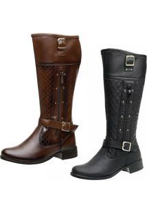 ... Bota Kit 2 Pares Montaria Ousy Shoes Cano Longo Preta Marrom ce22cea904aab