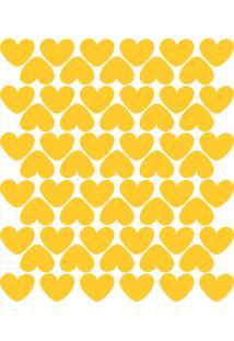 Adesivo De Parede Infantil Corações Amarelos 55Un