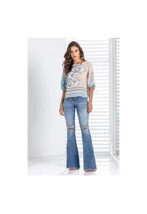 Calça Jeans Lado Avesso Pin-Up Flare Azul Claro Tam. 40