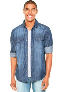 Camisa Jeans Enfim Reta Azul
