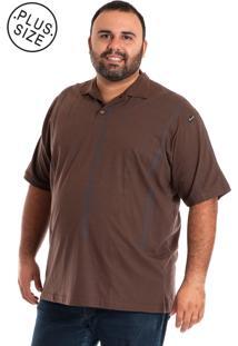 Camisa Polo Konciny Plus Size Marrom