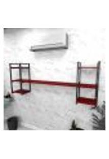 Estante Industrial Escritório Aço Cor Preto 180X30X68Cm Cxlxa Cor Mdf Vermelho Modelo Ind26Vres